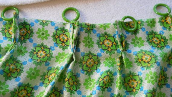 Lime Green Curtain 60s Curtains Bedroom Curtains Short Curtain Floral Curtain Panel Pleated Curtains Floral Curtain Panel Window Treatment on Etsy, $18.69