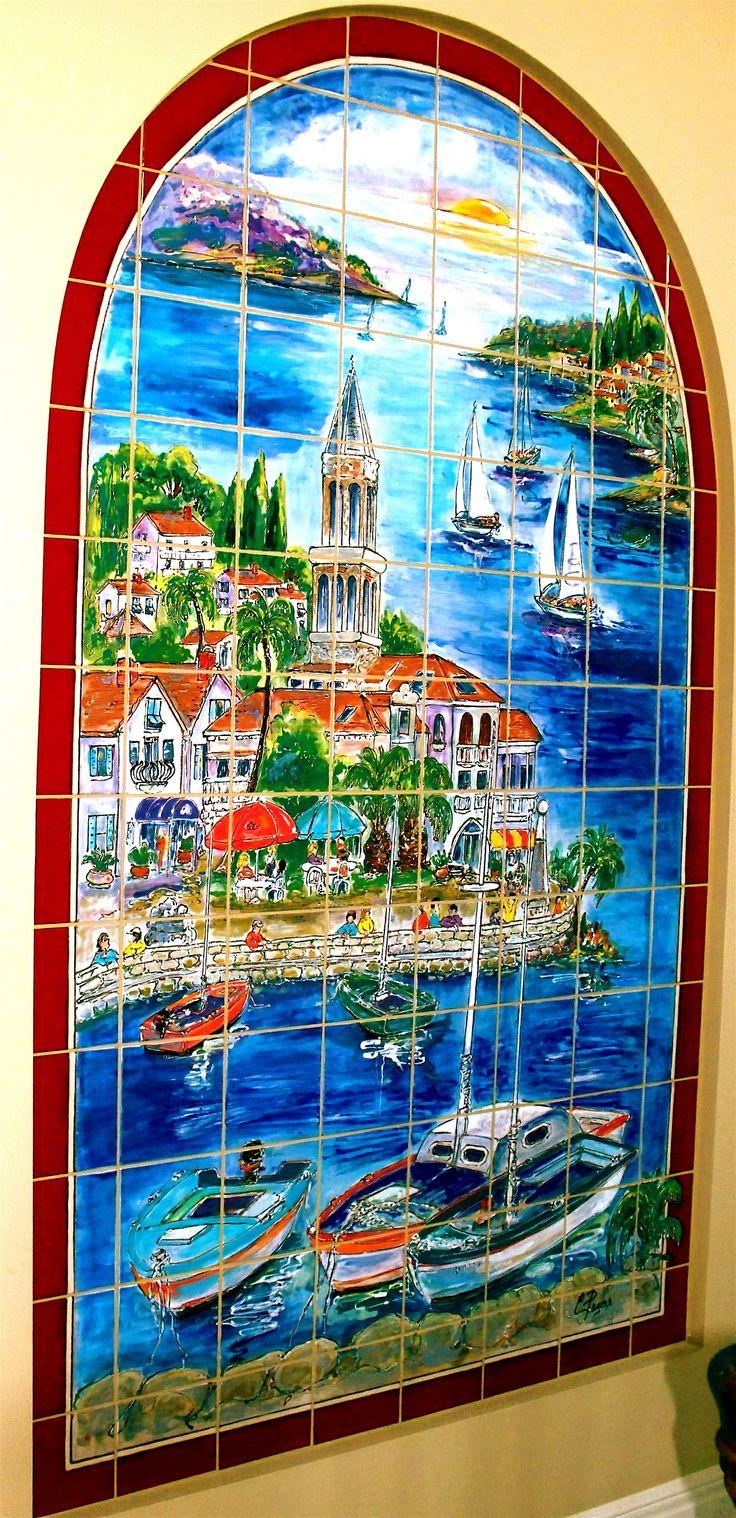 Carolyn payne murals hand painted tile mural caribbean for Ceramic mural tiles