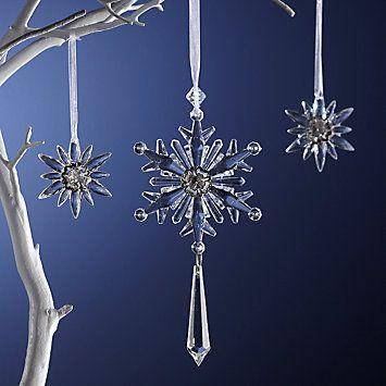 LENOX Ornaments: Snowflakes & Snowmen - 3-piece Set Starburst Snowflake Ornaments