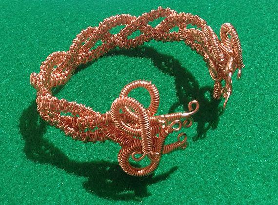 Copper Wire Bangle, Copper Statement Bracelet, Copper Anniversary Gift, 7th Anniversary Gift, Large Bangle