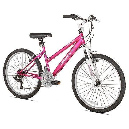 """Kent Terra 2.4 - 24"""" Girls' Mountain Bike 21 Speed - Pink/White : Target"""