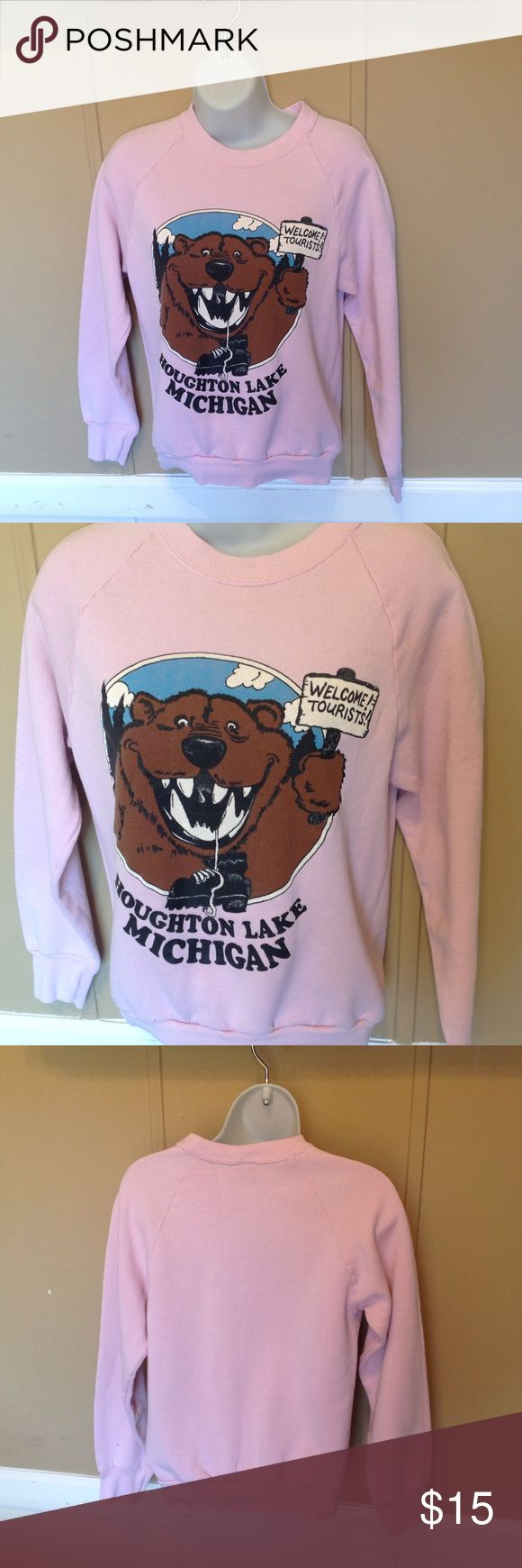 "Vintage 80s Camping in Michigan Sweatshirt Maker: Screen Stars  ♥  Material: 50/50 Poly Cotton  ♥  Color: Pink  ♥  Measured Size:  Pit to pit- 18""  Pit to cuff-16""  Shoulder to waist- 21""  ♥  Tag Size: M  ♥  Actual Size: S  PLEASE CHECK YOUR ACTUAL MEASUREMENTS TO MAKE SURE IT IS THE RIGHT SIZE! THANKS!  ♥  Condition: Good! There are some tiny spots ,nothing major. Tops Sweatshirts & Hoodies"