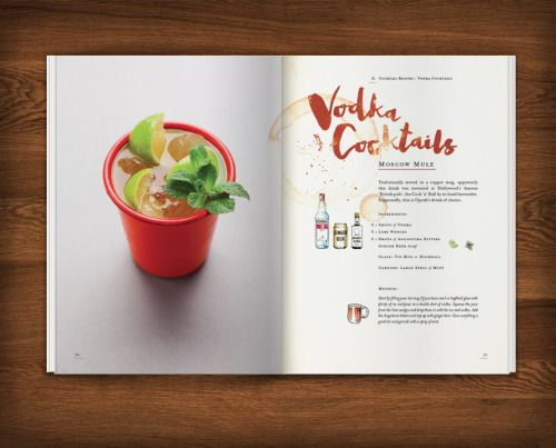 Cocktail Recipe Book design for Dre Masso. The brief was to design a recipe book for the home bartender that looked fun, relaxed and well used. Services supplied: graphic design, recipe book design, page layouts, typography and illustration. Photography by Dre Masso and Geoff Fenney.