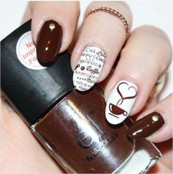Brown coffee nail design