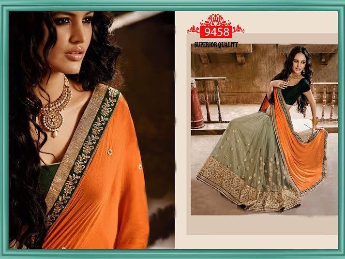 Orange Chiffon & net Bollywood saree online