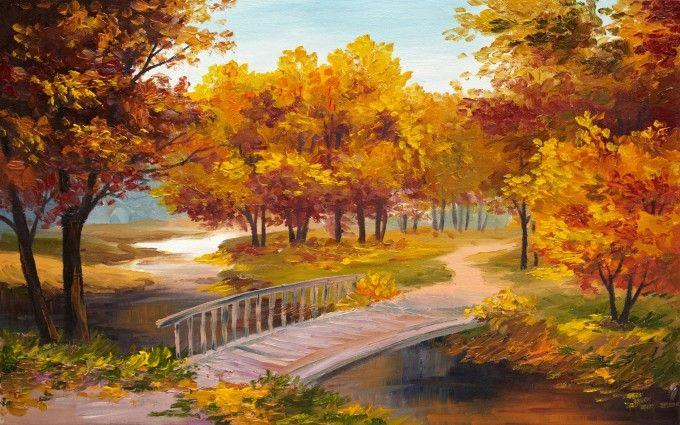 Pictorial art Autumn Parks Bridges Pond