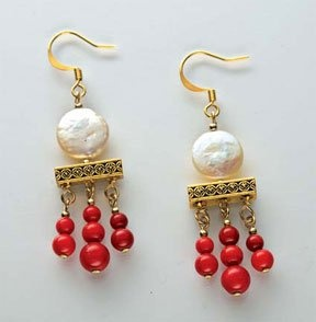 Molly Schaller - earrings featuring TierraCast Deco Rose 3 Hole Bars. Cute!
