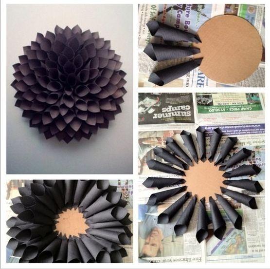 Papier #Blume! Budget freundliches #DIY: Einfach Blätter in Lieblingsfarbe auf runde Karton-Scheibe kleben!