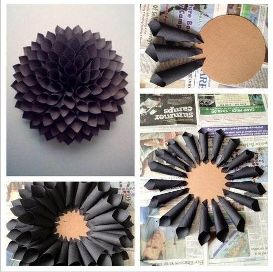 DIY Paper Flower Dahlia Wreath - budget friendly. All you need is your favorite paper, a cardboard round and some glue.