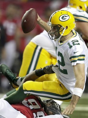 Packers vs. Falcons:    October 30, 2016  -  33-32, Falcons  -      Green Bay Packers quarterback Aaron Rodgers (12) is sacked by Atlanta Falcons defensive end Adrian Clayborn (99) during the third quarter of the Atlanta Falcons' 33-32 victory over the Green Bay Packers on Sunday, October 30, 2016, at the Georgia Dome in Atlanta, GA.  Wm. Glasheen/USA TODAY NETWORK-Wisconsin
