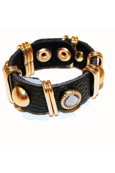 Jill Pineda black studded leather bracelet