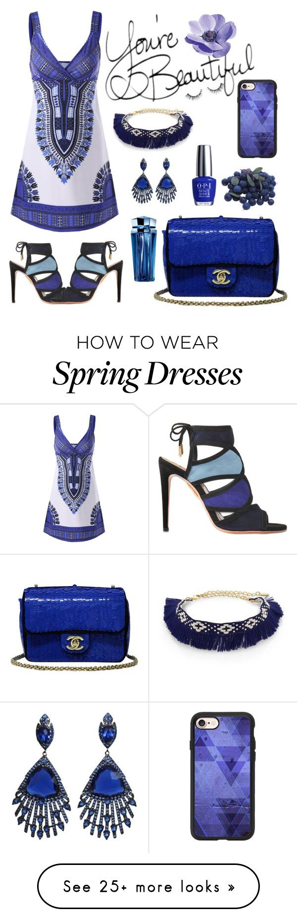 """""""Beautiful Blues"""" by kittyflare on Polyvore featuring Ettika, Aquazzura, Chanel, OPI, Casetify, Thierry Mugler and MemorableNight"""