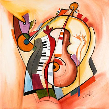 Music is My Life by Alfred Gockel  Giclee on Canvas, 36 x 36, ed.95