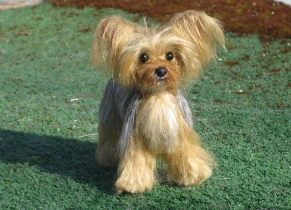 yorkie with tail custom pet portrait gourmet felted poseable vegan 6171