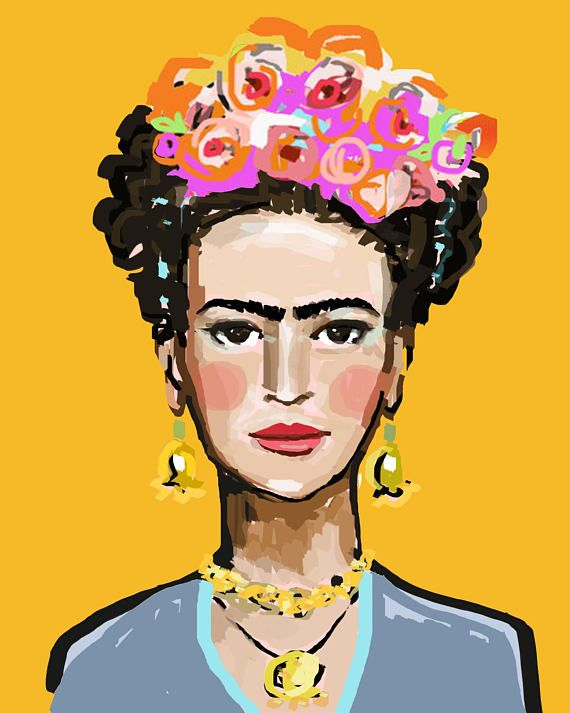 Frida Gold  various sizes  Watermark will not appear on your print.   PRINT of original painting by Maren Devine. Archival quality bright inks on medium weight matte paper. White border on all sides. Beautiful color and quality prints on premium matte paper. Canvas prints are finished out in back with board and a hanger 1 3/8 sides are light pink from image. All prints look just like the original.      Questions, just ask!!    Original art becomes property of buyer, seller retains right ...