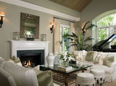 Dana Doumani Design Chic Living Room In Los Angeles Pale Mossy Green Walls,  Belgium Linen White .