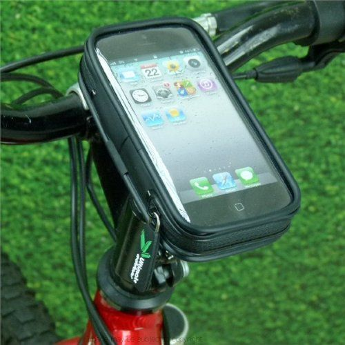 """Light-weight Waterproof Bike Cycle Head Stem Mount for Apple iPhone 5 / 5S / 5C. Bicycle Head Stem Mount with IPX3 waterproof standard light-weight case for the Apple iPhone 5 / 5S / 5C smartphone. Fits: 1 1/8"""" Star Washer bike stems. A complete cycle mounting option to hold the Apple iPhone 5 / 5C / 5S mobile smartphone. The Mount: Strong secure mounting base. Machined from solid billet aluminium. British made. Fits 1 1/8"""" Star Washer Stems only - not suitable for Quill Stems. Fitting -..."""