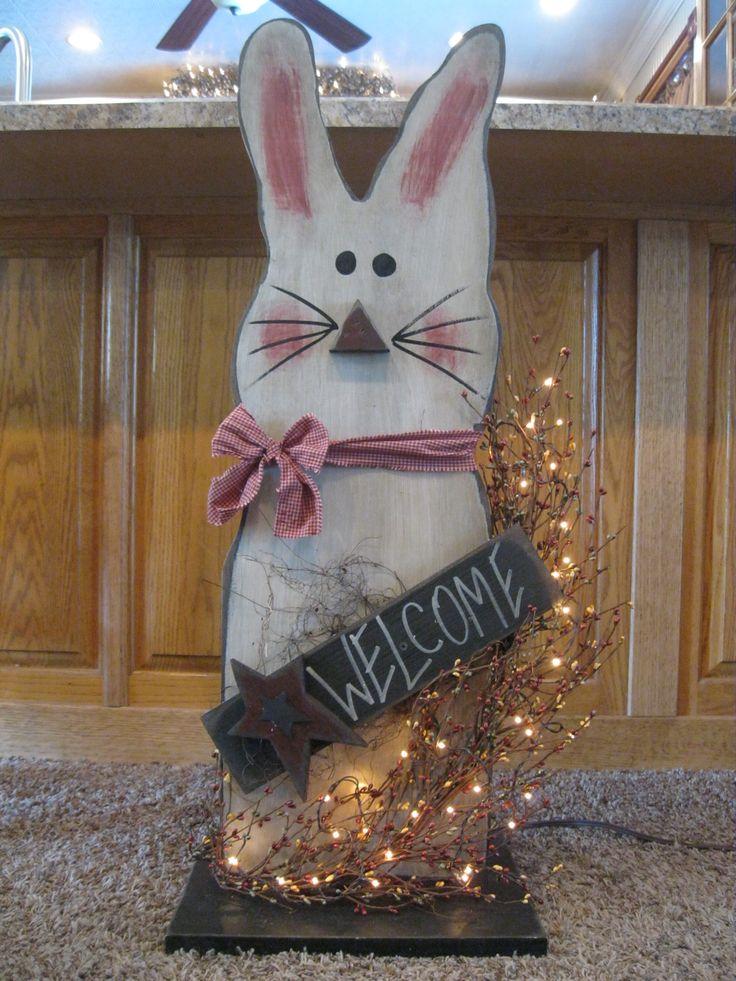 Bunny Primitive Wood CraftsPrimitive DecorationsPrimitive CountryEaster DecorEaster CraftsEaster IdeasHappy