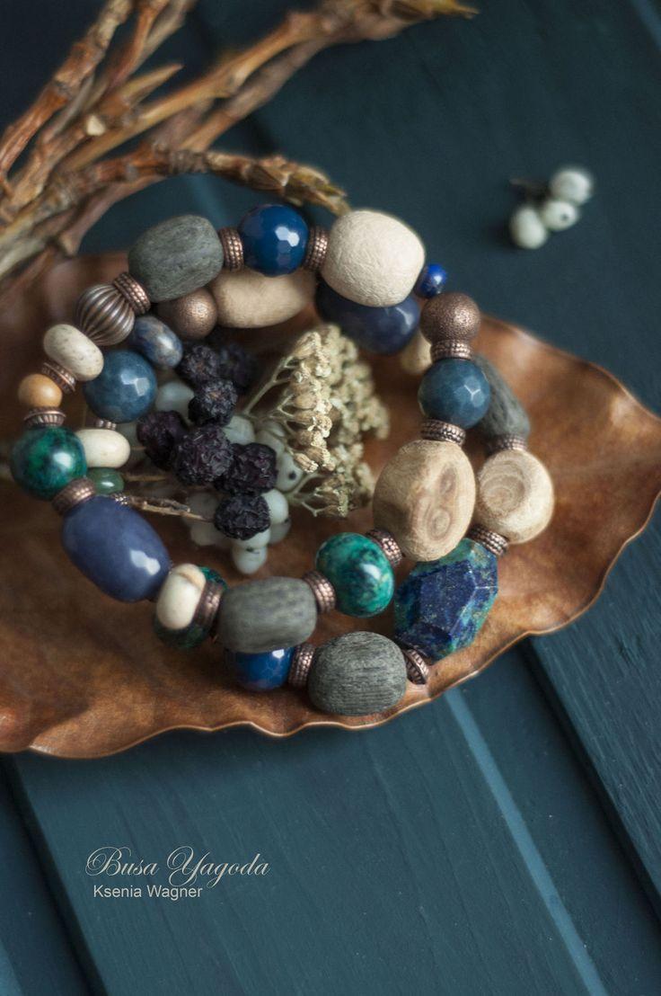 """Купить Комплект браслетов """"Озерный край"""" - тёмно-синий, синие браслеты, комплект, браслеты с камнями"""