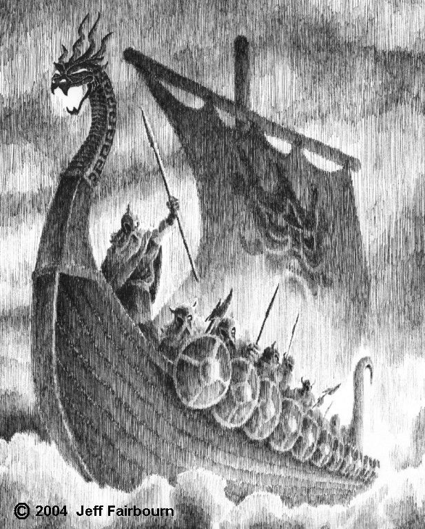 Ship of the Viking gods, that can fold up like a piece of cloth until it is small enough to fit into a pocket.