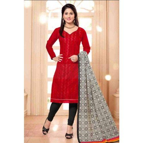 RED COTTON CHURIDAR SUIT Price - £23.00 #IndianDresses #ChuridarSuit #DesignerDresses #BollywoodFashion #ShopkundUK