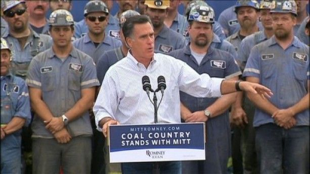 Mitt Romney tells his supporters in Ohio that he is committed to the US coal energy industry