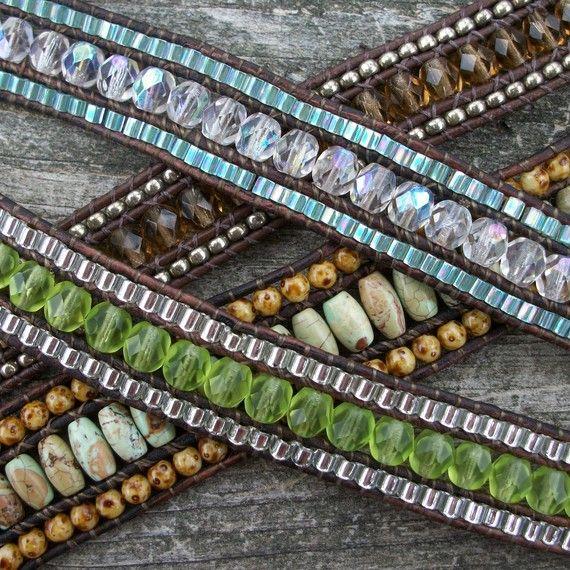 love these: Idea, Beads Bracelets, Leather Bracelets Tutorials, Tutorials Pdf, Multi Wraps, Triple Row, Leather Bracelet Tutorial, Jewelry, Leather Wraps Bracelets
