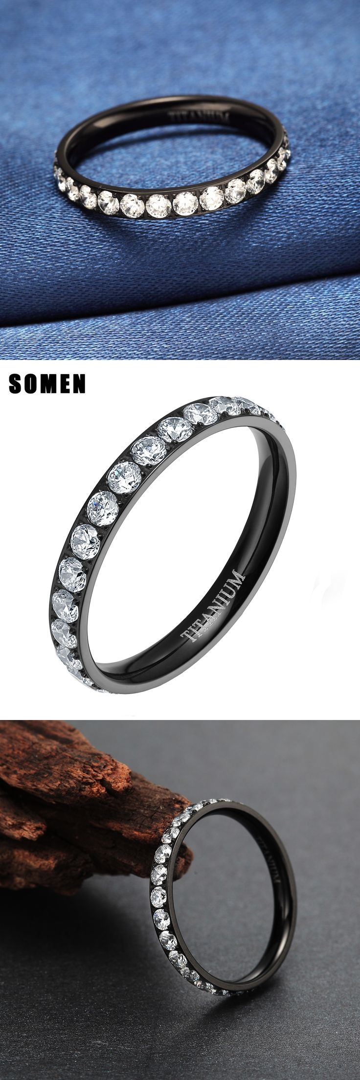 2017 New Arrival 3mm Black Rose Gold Titanium Rings CZ Zircon Women Jewelry Wedding Engagement Band Promise anillos Fast Ship