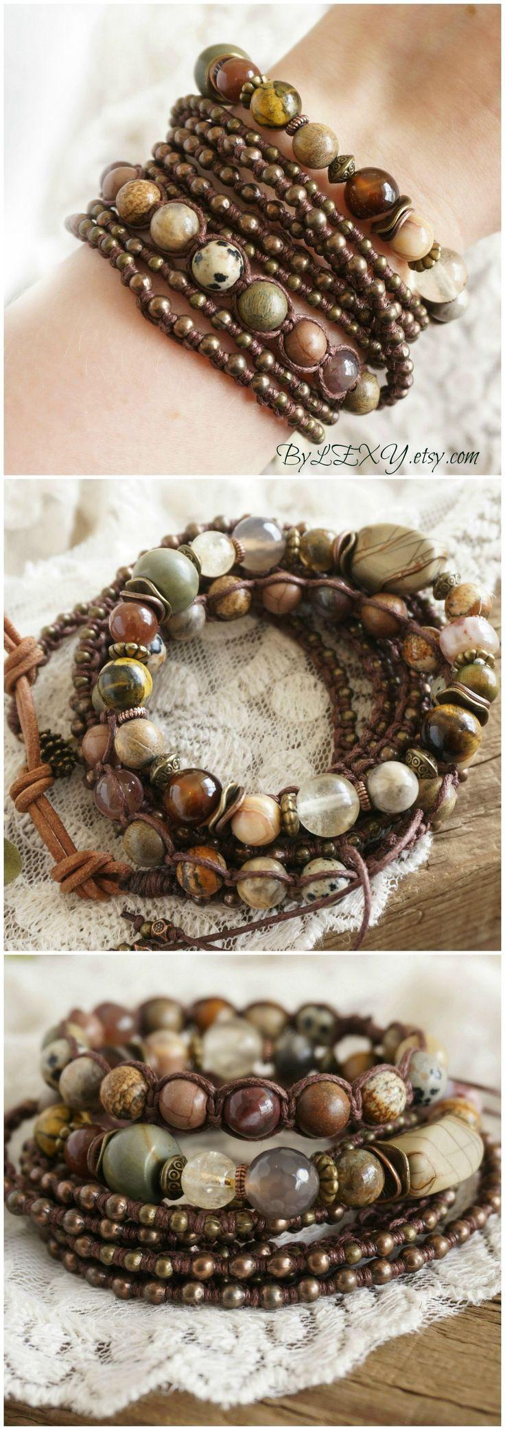 "Set of 3 Boho ""Rustic Fall"" Wrap Stack Bracelets, Bohemian Rustic Gypsy Hippie Hemp Multicolour Earthy Layer Multistrand Jewelry Gift ByLEXY #BohemianJewelry"