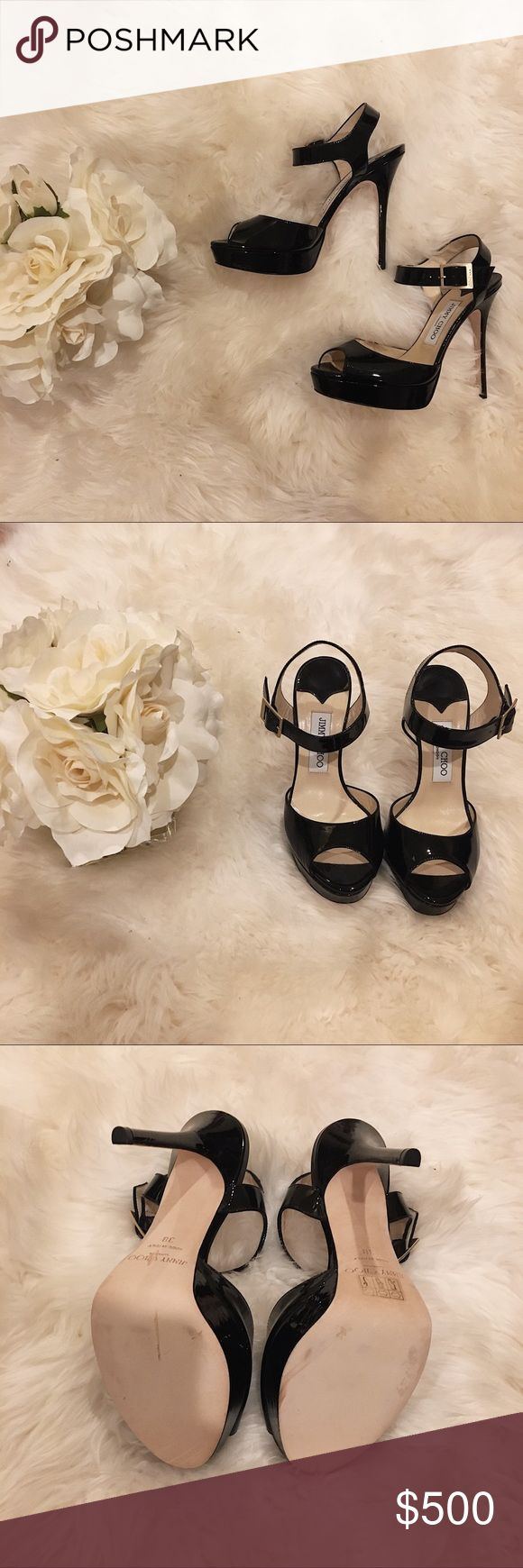 Jimmy Choo 'Raven' Patent Heels. Never worn. 100% authentic black patent heeled sandals by Jimmy Choo. Jimmy Choo Shoes Heels