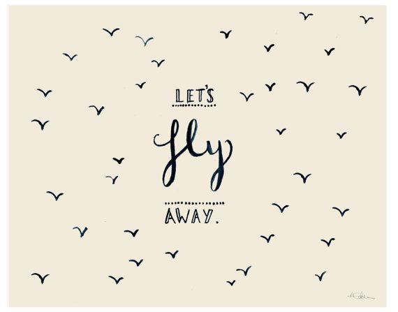Let's Fly Away  Typographic Illustration by AmandineRoseDesigns,