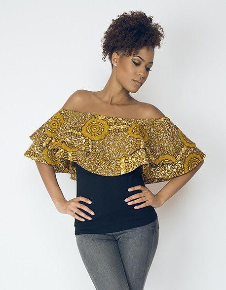 Haut col bateau noir à volants et imprimé wax gold par Lena dreams pour Afrikrea. https://www.afrikrea.com/article/haut-ati-col-bateau-wax-imprime-gold-lenadreams-hauts-t-shirts-debardeurs-noir-pour-elle-coton/N53NU99?utm_content=bufferd9b83&utm_medium=social&utm_source=pinterest.com&utm_campaign=buffer