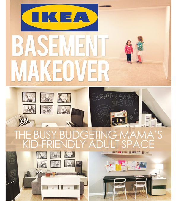 """Our IKEA Basement Makeover! A Kid-Friendly Adult Space"" @TheBusyBudgetingMama.com"