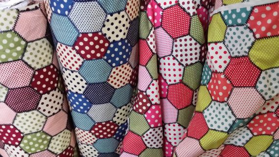 Rose & Hubble Patchwork and Polka dots COTTON Print kids crafts Quilting, cot, Duvet, bunting table Dress FABRIC Supplies - By the Metre