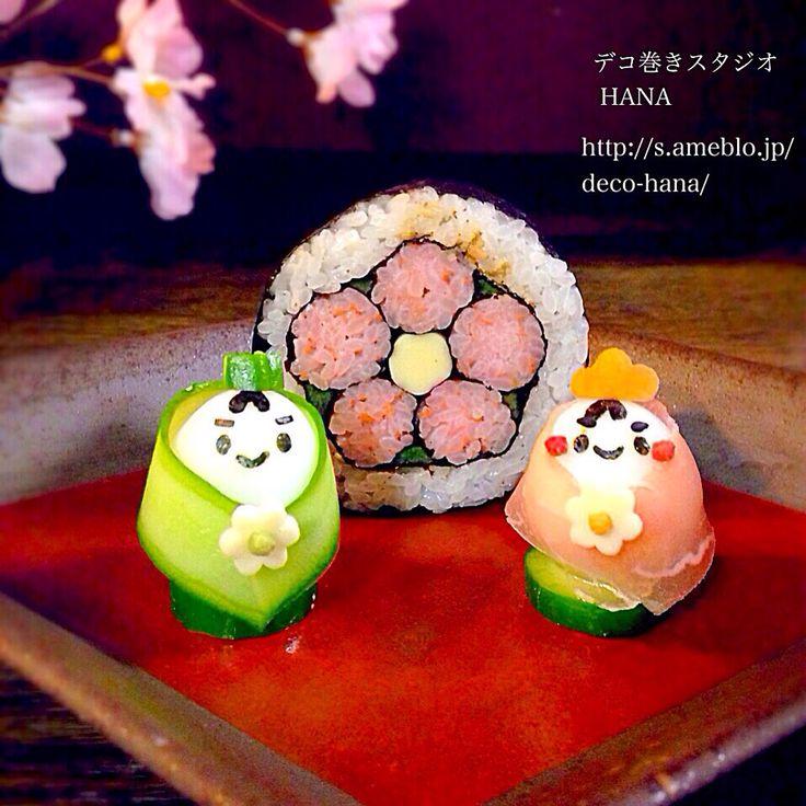 『うずらの卵のおひなさまと基本のお花』の飾り巻き寿司  お花の巻き寿司を屏風にみたてて◡̈♥︎
