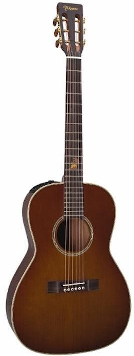 Takamine TF87-PT - an acoustic-electric parlor guitar. This particular parlor guitar looks closer to an old parlor guitar than a modern acoustic-electric instrument, but it still carries Takamine's characteristic clean look and preamp placement. Although Takamine have ceased production of this model you can still get it at some online music stores.