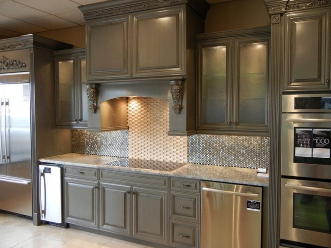 Chelsea Gray Cabinets with black glaze