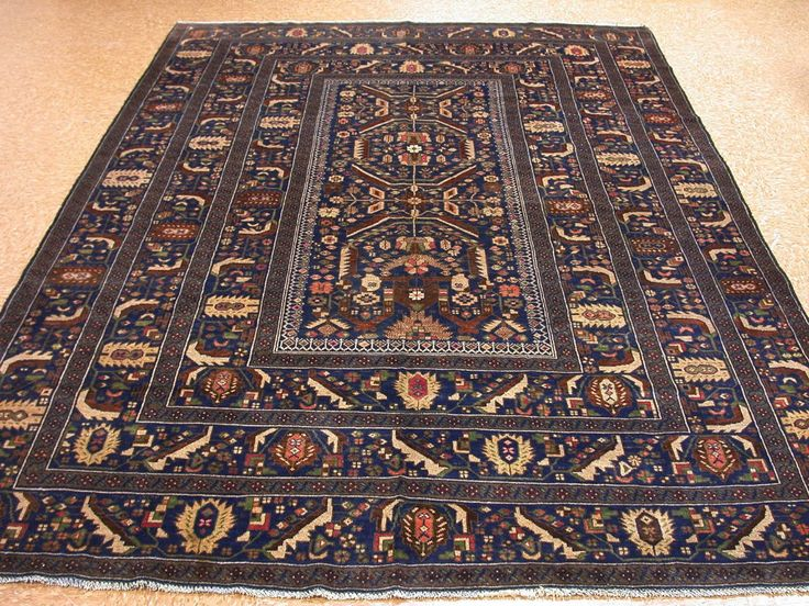 7 X 10 Baluch Tribal Hand Knotted Wool Traditional Blues Reds New Oriental Rug In Home