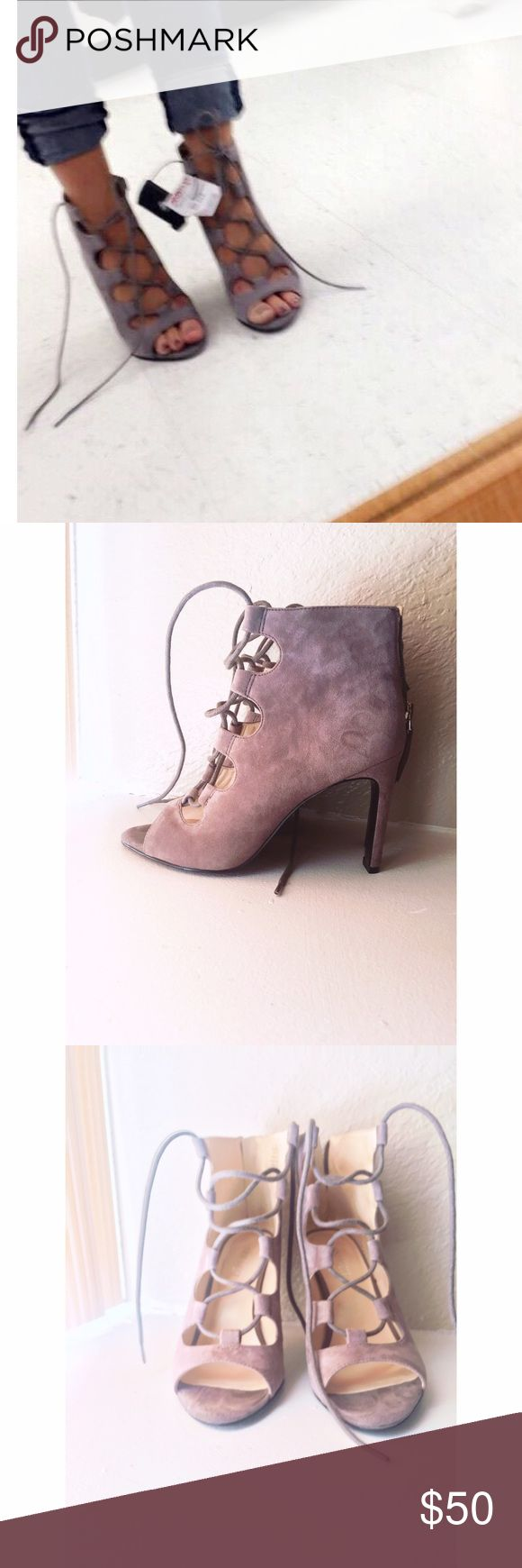 Nine West strap up heels Gray suede Nine West strappy heels Nine West Shoes Lace Up Boots