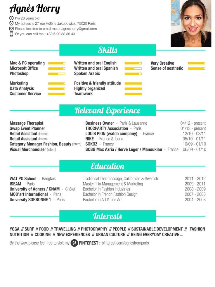 mon cv  here is my  resume   foodlover  fashion  surf
