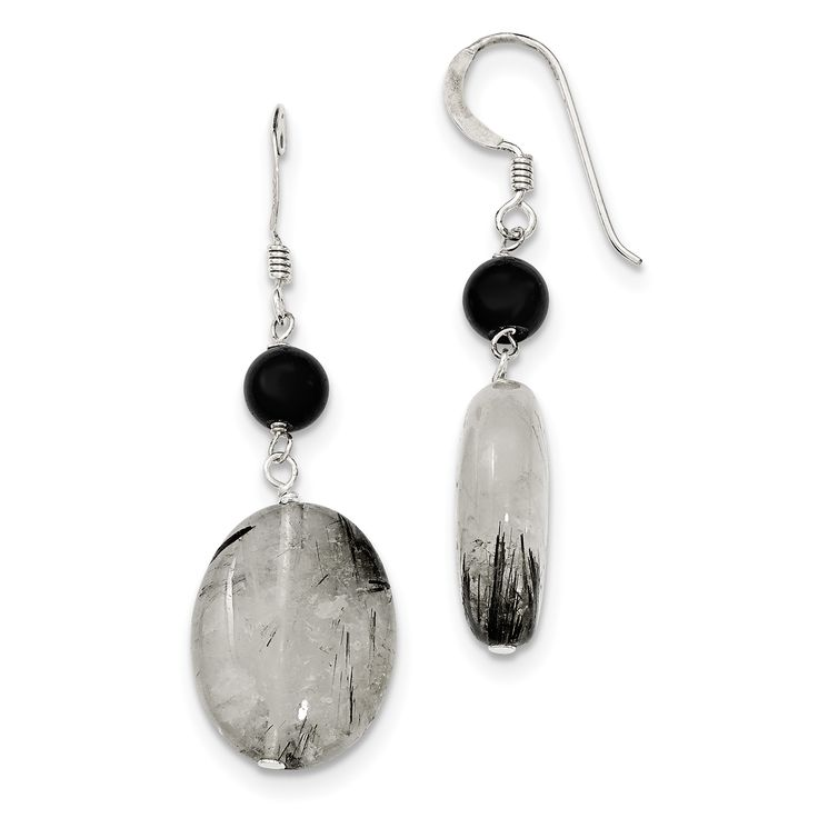Sterling Silver Black Crystal/Tourmalinated Quartz Earrings QE6352
