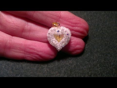 "Beading4perfectionists : ""Belinda's Heart"" 12mm pendant heart caged beading tutorial - YouTube"