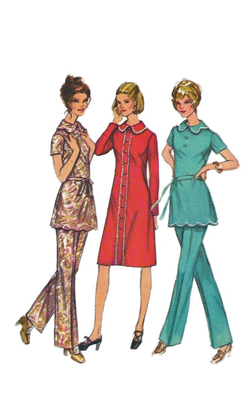 Simplicidad 9631, vestido o túnica y pantalones en la mitad de tamaño: el vestido o túnica con cierre tiene suciedad mangas, cuello y botón de ajuste. El vestido tiene novedad de ajuste de la trenza. La túnica festoneada con correa del lazo de tela del uno mismo tiene trenza tejida plana opcional del ajuste. Los pantalones con cremallera trasera tienen carcasa de cintura elástica.  Tamaño: 14 1/2 Busto: 37 Cintura: 30 Cadera: 39 Derechos de autor 1971  Este patrón es corte y completa. Nota…