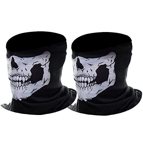 eBoot Half Skull Face Mask Motorcycle Face Mask Bandana Balaclava Headwear 2 Pack White -- Find out more about the great product at the image link.