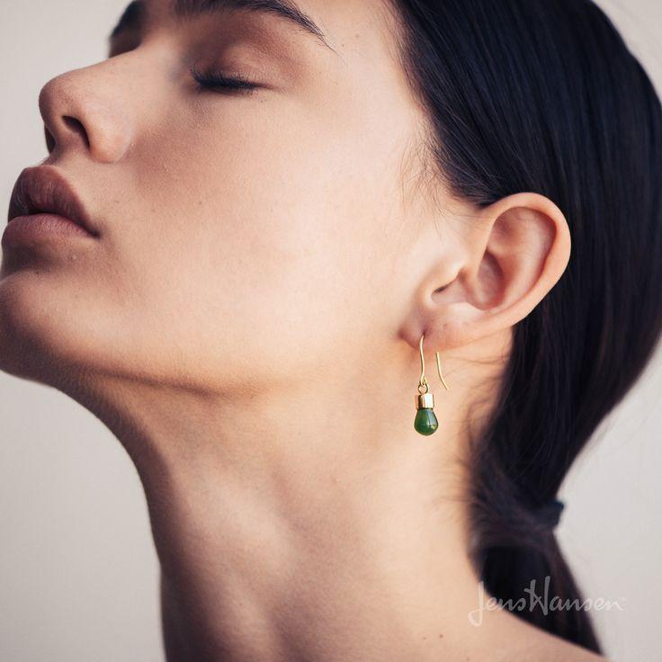 New Zealand Greenstone 'Pounamu' Earrings, Yellow Gold