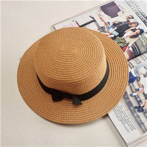 Best Selling Sun Caps Ribbon Round Flat Top Straw Beach FREE SHIPPING !!!