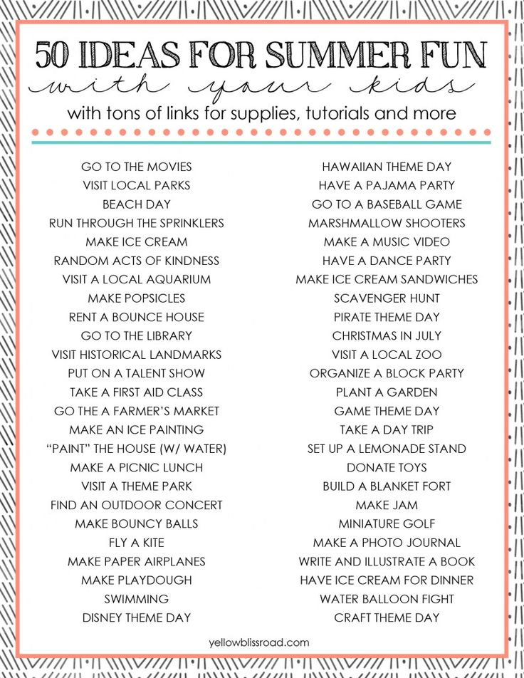 50 Ideas for Summer Activities with Your Kids with a Free Printable