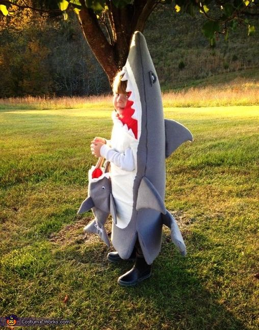 Sharon: My grandson Casen is wearing the costume. He called me and said Grammy will you make me a shark costume for Halloween, and of course I responded with a yes....