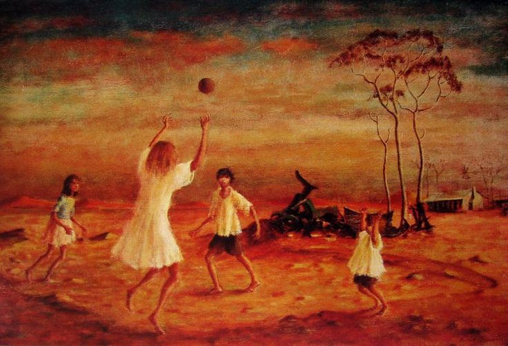 Children Playing with Ball 1976 George Russell Drysdale (1912-81) Australia