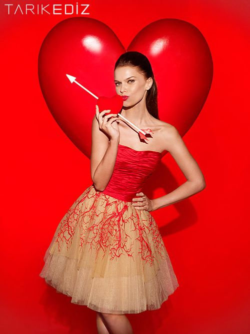 Tarik Ediz 90401 - $690.00. strapless. tulle. red. short. dress